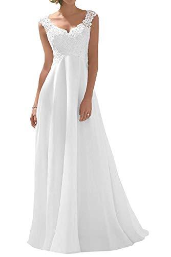 Romantic-Fashion Brautkleid Hochzeitskleid Weiß Modell W191 A-Linie Stickerei Chiffon DE Größe 42