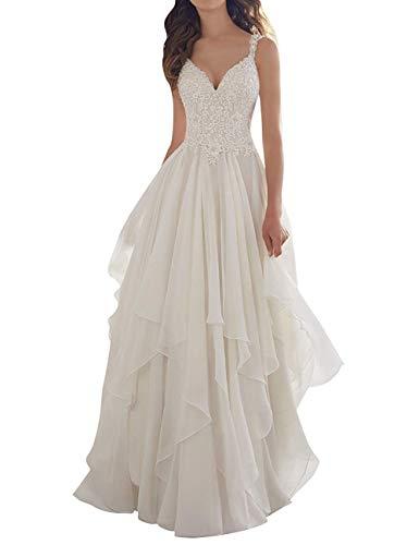 Brautkleid Hochzeitskleid Damen Lang Brautmode Chiffon Spitze V-Ausschnitt A-Linie Elfenbein EUR42