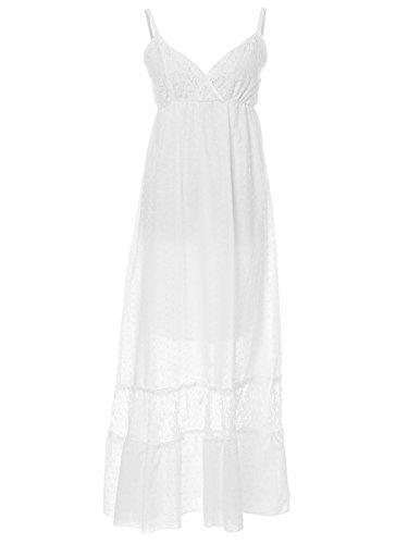 Anna-Kaci Frauen Einstellbare Träger Boho Spitze Weiß V-Ausschnitt Ärmellos Lange Maxi Kleid, M, Hell Weiß