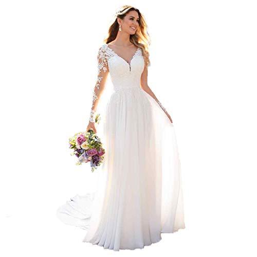 Nanger Damen V-Ausschnitt Hochzeitskleider Lang Ärmel Spitze Chiffon Boho Brautkleider Weiß 44