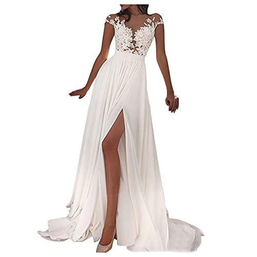 Dasongff Damen Hochzeitskleid Einfarbig Kleider Ärmellos V-Ausschnitt Split Maxi Abendkleid Abendkleid...