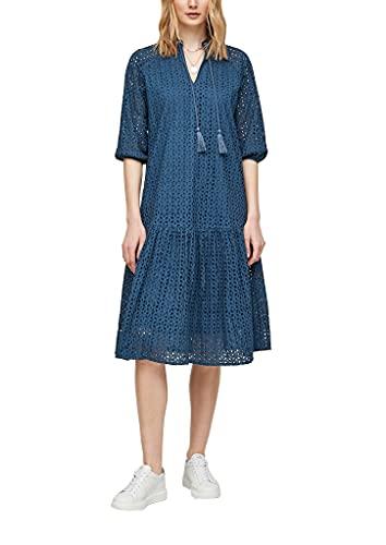 s.Oliver Damen Tunikakleid aus Baumwollspitze Blue Embroidery 42