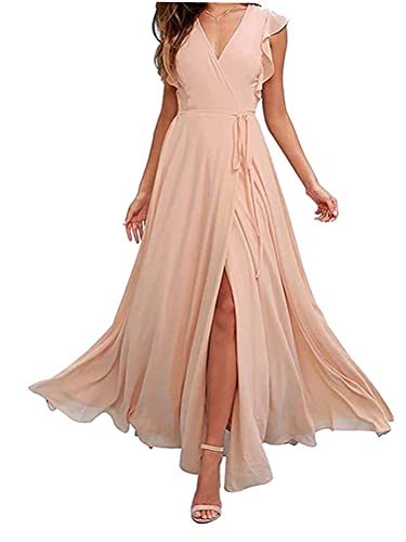 Minetom Damen Elegant Chiffon Maxi Kleid Hohe Taille Langes Abendkleid Partykleid Hochzeit Brautjungfer Brautkleid...
