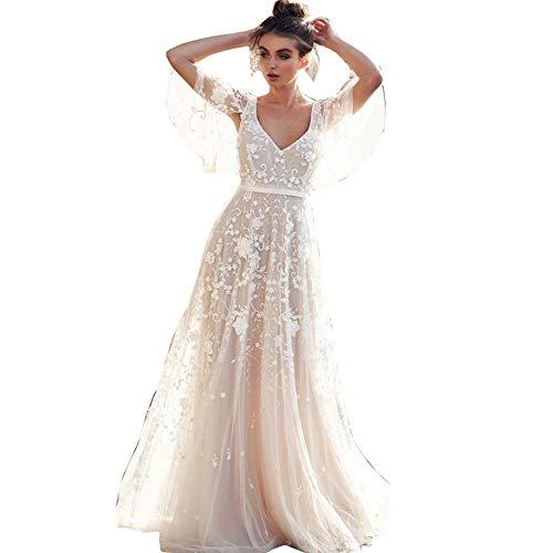 Hochzeitskleid Damen Lang Brautkleider Elegant Spitze Brautmode RüCkenfrei Abiball Prinzessin Kleider Abendkleider...