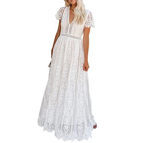 Jywmsc Damen Boho Kleider Sommerkleider Lang Blumenkleid Maxikleid Kurzarm V-Ausschnitt Strandkleid Böhmisch Kleid