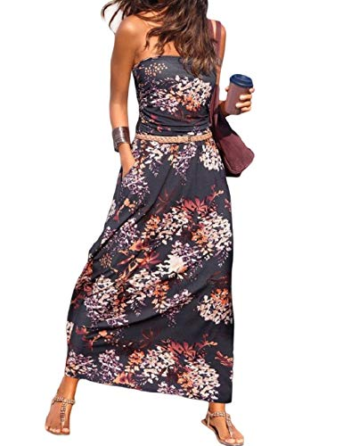 SEBOWEL Damen Maxikleid Sommer Boho Kleider Lang Bandeau Ärmelloses Sommerkleid Strandkleider Elegante Freizeitkleid...