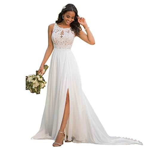 Nanger Damen Hochzeitskleider Standesamt Lang mit Schlitz Spitze Chiffon Brautkleider Strand Weiß 44
