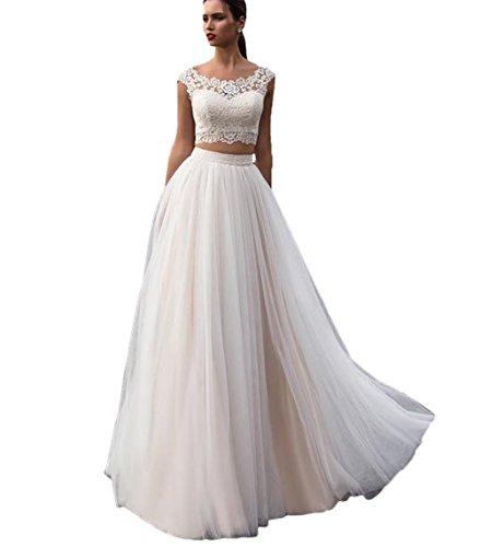 Nanger Damen Tüll Spitze Boho Bohemien Hochzeitskleider Zweiteilig Standesamt Lang Brautkleider Elfenbein 36
