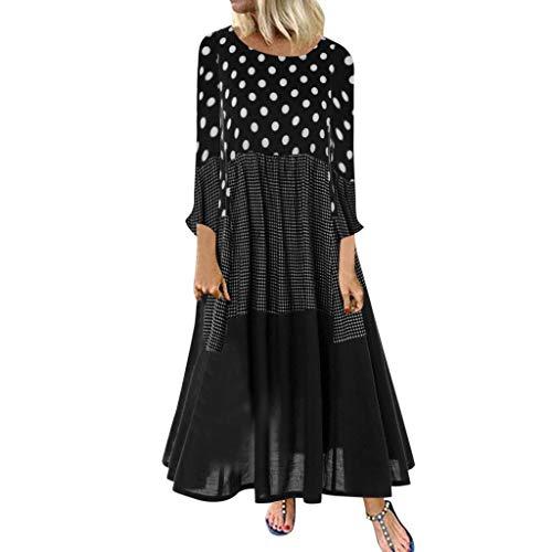 Damen Kleider Herbst Winter Langarm Beiläufige Lose Kleid Punkt drucken Baumwolle und Leinen Kleid Lässige Kleidung...