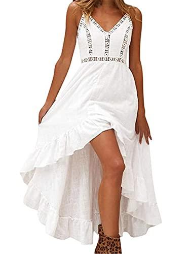 MEILINVREN Kleider, Sommer Damen Lange Boho Kleid, Elegante Weiße Spitze Ärmellose Maxi Kleider, Vintage Bohemian Midi...
