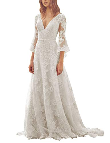 HUINI Damen V-Ausschnitt Brautkleid Boho Vintage Spitze Strand Hochzeitskleider Prinzessin Lang 3/4 Ärmel mit Rüschen...