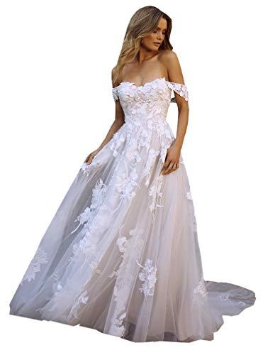 DMYG Hochzeitskleid Boho Beach Lang Spitze Appliques Off The Shoulder Tüll Prinzessin Brautkleider Elfenbein 42