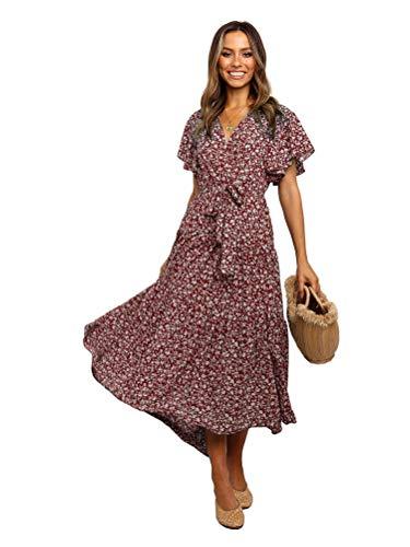 Tomwell Damen Kleider Boho Sommerkleid V-Ausschnitt Maxikleid Kurzarm Strandkleid Lang mit Schlitz A Rot L