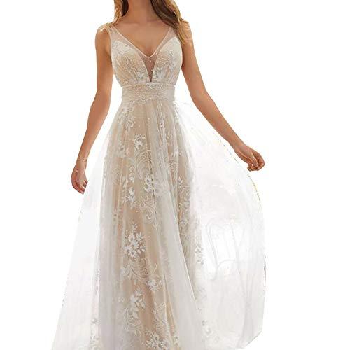 Huaheng Braut Brautkleider mit Spitze Appliques V-Ausschnitt Brautkleid Elegant für Frauen Neu