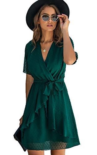 Spec4Y Damen Kleider V-Ausschnitt Vintage Langarm Rüschen Punkte Sommerkleid Knielang Swing Strandkleid Sommer 3023...