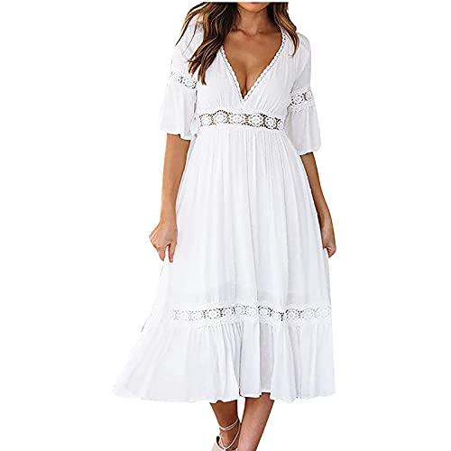 Sommerkleid Damen Lang Maxikleid Sexy V-Ausschnitt Kurzarm Elegant Weißes Lässiges Schlinge Lange Strandkleid...