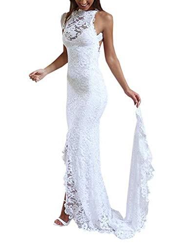NUOJIA Rückenfrei Spitze Hochzeitskleid Standesamt Boho Böhmisch Brautkleider Meerjungfrau Weiß 36