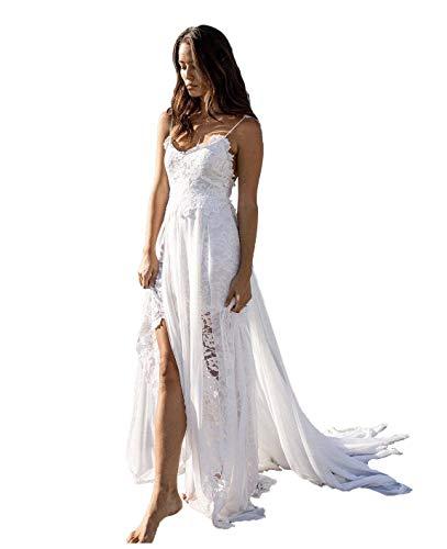 Nanger Spitze Hochzeitskleider Standesamt mit Spaghettiträger Damen Brautkleider Strand Lang Weiß 38