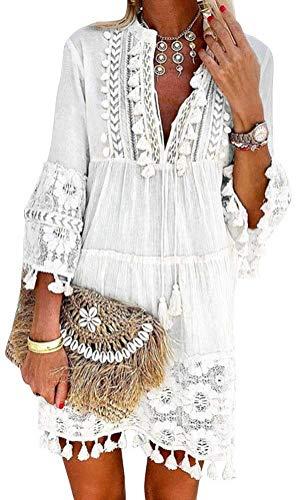 Minetom Damen Kleider Strand Elegant Casual A-Linie Kleid Langarm Sommerkleider Boho V-Ausschnitt Quaste Spitze Tunika...