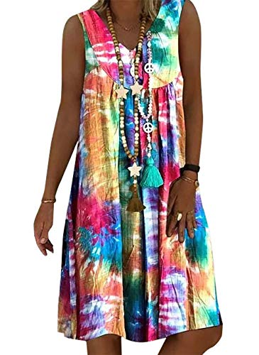 Vera Damen Sommer Freizeit Blumenmuster Boho V-Ausschnitt Strand midi Kleid (XXL, Multicolor)