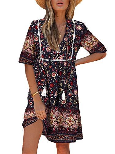 Kidsform Damen Kleider Tshirt Kleid Kurzarm Tunika Boho Blumen Sommerkleid für Damen V-Ausschnitt Minikleid Shirt Lose...