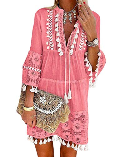 ORANDESIGNE Damen Kleider Strand Elegant Casual A-Linie Kleid Langarm Sommerkleider Boho V-Ausschnitt Quaste Tunika Mini...