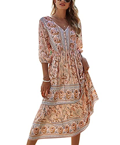 ACLOIN Maxikleider Damen Blumen Kleider Sommerrock Sommerkleid Lang Strandkleid Boho V-Ausschnitt Kleid (Aprikose, M)