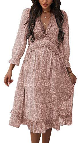 ZIYYOOHY Damen Lange Kleid Chiffon Rüschen mit Tief V-Ausschnitt Blumendruck Sommerkleid Cocktailkleid Partykleid...