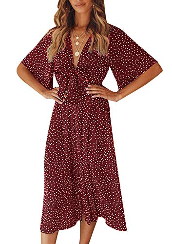 Yidarton Sommerkleid Damen V-Ausschnitt Polka Dot Midikleid Knielänge Vintage Boho Kurzarm Strandkleider (Rot, M)