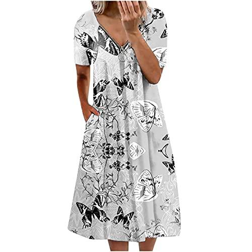 Zzbeans Sommerkleid Damen Lang, V-Ausschnitt Reißverschluss Kurzarm Kleid Damen Mode Blumen Schmetterling Druck Loses...