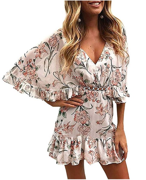 70er Jahre Hippie Boho Kleid Sommerkleid Strandkleid Damen