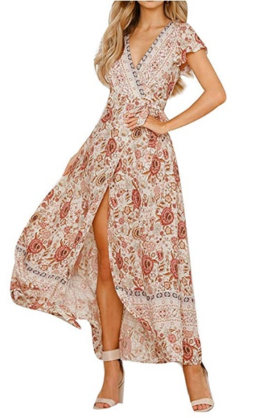 Boho Kleid 70er Jahre Hippie Kleid Damen Sommerkleid Strandkleid Bohemian Chic