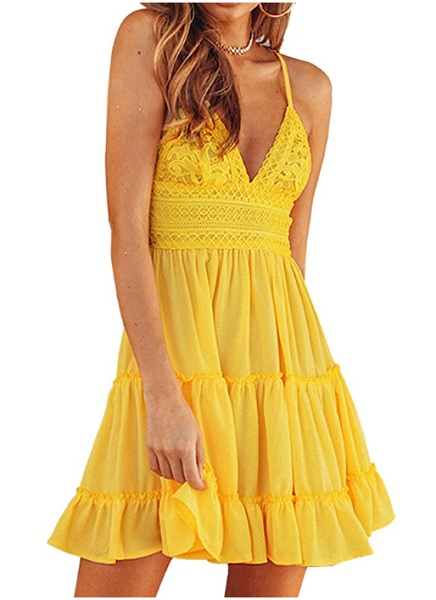 Boho Kleid Bohemian Kleid gelb kurz Hippie Kleid 70er Jahre Kleid Sommerkleid Strandkleid