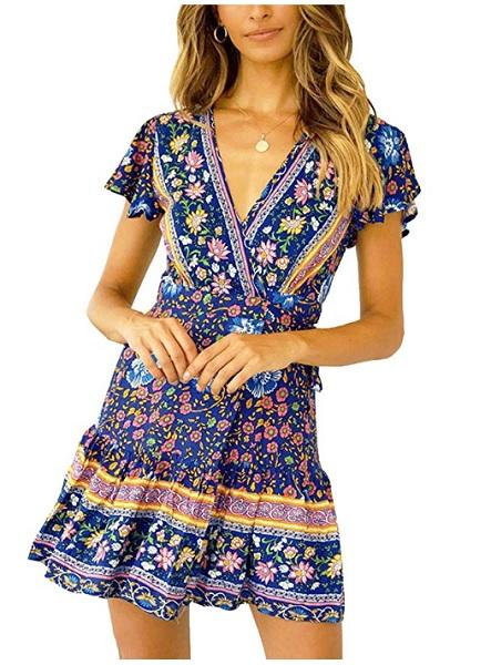 Damen Kleid Bodenlang Boho Folk Sommerkleid Tunika Urlaub Casual  36 38