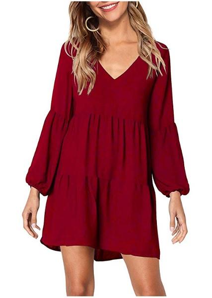 Boho Kleid rot Damen kurz 70er Jahre Hippie Kleid Strandkleid Sommerkleid
